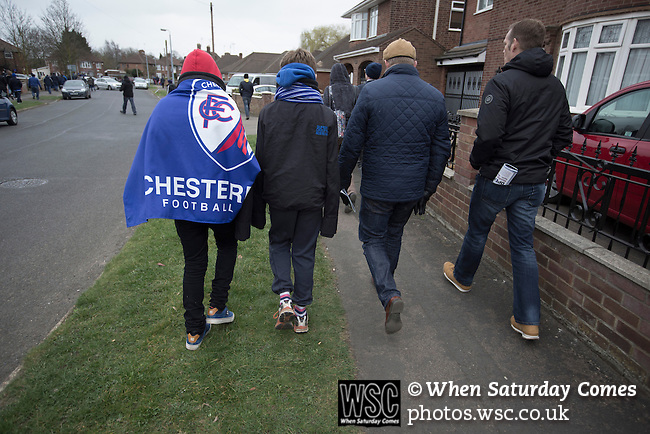 Peterborough United 1 Chesterfield 0, 21/03/2015. Abax Stadium, League One. Away fans walking away from the Abax Stadium, after Peterborough United played Chesterfield in a SkyBet League One fixture. The home team won the match by one goal to nil, watched by a crowd of 6,612. The result allowed Peterborough to leapfrog their opponents into the League One play-off positions with eight games remaining of the season. Photo by Colin McPherson.