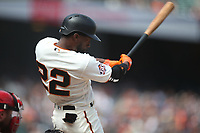 SAN FRANCISCO, CA - MAY 16:  Andrew McCutchen #22 of the San Francisco Giants bats against the Cincinnati Reds during the game at AT&T Park on Wednesday, May 16, 2018 in San Francisco, California. (Photo by Brad Mangin)