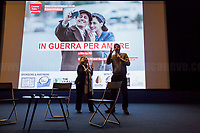 """(From L to R) Clara Caleo Green (Artistic director of CinemaItaliaUK) & Pif.<br /> <br /> London, 25/03/2017. Today, CinemaItaliauk held the premiere of the Italian movie """"In Guerra Per Amore"""" (At War With Love) at the Genesis Cinema in London's Whitechapel (On London's 11 Best Independent Cinemas list). Special guest of the event was the Director and main actor of the movie Pif (Aka Pierfrancesco Diliberto, Italian television host and film director and actor and writer) who held a Q&A with Clare Longrigg, deputy Editor of the Guardian. After the success with """"The Mafia Kills Only in Summer"""" (2013), Pif is back with a love comedy based on true facts in which the Sicilian Director shows the agreement, made during World War II between the US Army and the Sicilian mafia, to invade and occupy Sicily without provoking any trouble, re-establishing the criminal power of """"Cosa Nostra"""" on the Italian southern island. <br /> <br /> For more information please click here: http://www.imdb.com/title/tt5263116/ & https://www.facebook.com/events/237675699972952/ & https://www.facebook.com/CinemaItaliaUk/"""