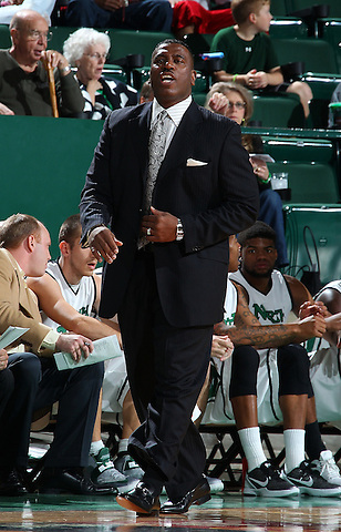 DENTON, TX - DECEMBER 16: Tony Benford head coach of the North Texas Mean Green reacts against the Southeastern Louisiana Lions at the UNT Coliseum on December 16, 2012 in Denton, Texas. (Photo by Rick Yeatts/Getty Images)