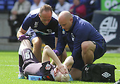 Bolton v Derby. SkyBet Championship. 8/8/15 <br /> <br /> Derby's Will Hughes gets attention, then stretchered off injured.<br /> <br /> Credit: PHSP/Harry McGuire