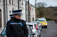 Tuesday 18 February 2014<br /> Pictured: Views of the Police cordon at New Road Pontyberem<br /> Re: It is beleived that a baby has been killed by a dog at an address in New Road, Pontyberem, Carmarthenshire, Wales, UK