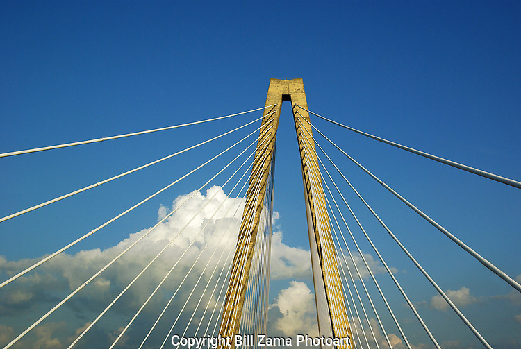 Main tower and suspension cables of Cooper River Bridge in Charleston SC