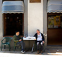 Two old man enjoying a saturday in Mundaka, Spain.
