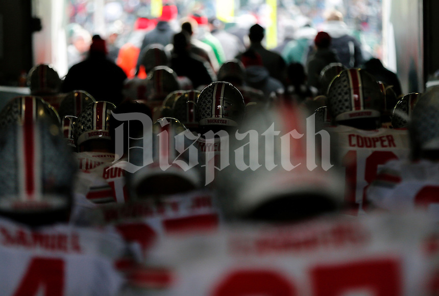 Ohio State Buckeyes head out to the field for the start of the 2nd half of their game against Michigan State Spartans at Spartan Stadium in East Lansing, Michigan on November 19, 2016. (Kyle Robertson / The Columbus Dispatch)