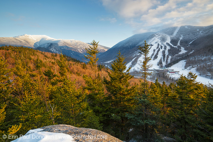 Franconia Notch State Park from Bald Mountain in the White Mountains, New Hampshire. Cannon Mountain is on the right.