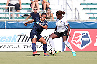 Cary, North Carolina  - Saturday July 01, 2017: Debinha and Mandy Freeman during a regular season National Women's Soccer League (NWSL) match between the North Carolina Courage and the Sky Blue FC at Sahlen's Stadium at WakeMed Soccer Park. Sky Blue FC won the game 1-0.