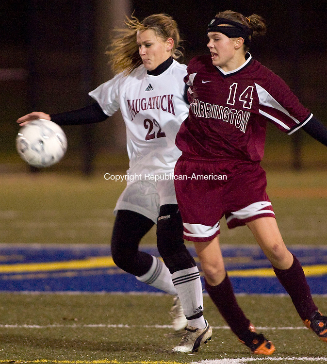 WATERBURY, CT - 05 NOVEMBER 2009 -110509JT14-<br /> Torrington's Sarah Royals and Naugatuck's Danielle Charette battle for the ball during Thursday's NVL final game at Municipal Stadium in Waterbury. Naugatuck won, 5-1.<br /> Josalee Thrift Republican-American