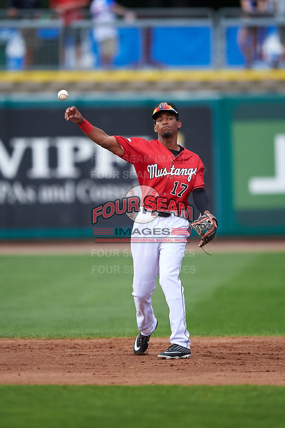 Billings Mustangs shortstop Reyny Reyes (17) throws to first base during a Pioneer League game against the Grand Junction Rockies at Dehler Park on August 14, 2019 in Billings, Montana. Grand Junction defeated Billings 8-5. (Zachary Lucy/Four Seam Images)
