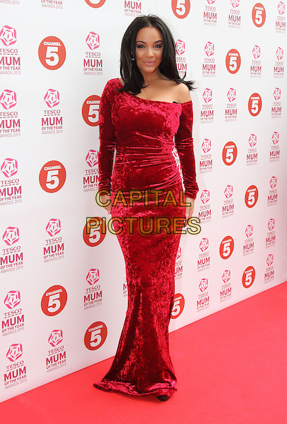 Chelsee Healey.attended the Tesco Mum Of The Year Awards 2013, Savoy Hotel, The Strand, London, England..March 3rd, 2013.full length dress red velvet off the shoulder .CAP/ROS.©Steve Ross/Capital Pictures..