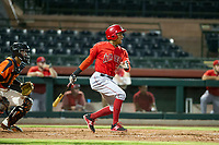 AZL Angels second baseman Gleyvin Pineda (72) bats during a game against the AZL Giants on July 10, 2017 at Scottsdale Stadium in Scottsdale, Arizona. AZL Giants defeated the AZL Angels 3-2. (Zachary Lucy/Four Seam Images)