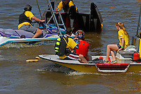 Reuben Stafford (#5) is taken to shore after flip by the rescue crew. (SST-120 class)