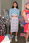 """Model poses in an outfit from the Hayley Elsaesser Fall Winter 2017 """"My Little Pony"""" collection, at Milk Studios on 540 West 15th Street in New York City, on February 8, 2017; during New York Fashion Week: Women's Fall 2017."""