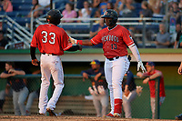 Batavia Muckdogs Albert Guaimaro (13) high fives Milton Smith II (33) during a NY-Penn League game against the State College Spikes on July 3, 2019 at Dwyer Stadium in Batavia, New York.  State College defeated Batavia 6-4.  (Mike Janes/Four Seam Images)