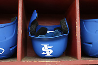 ELON, NC - FEBRUARY 28: Indiana State University batting helmet during a game between Indiana State and Elon at Walter C. Latham Park on February 28, 2020 in Elon, North Carolina.