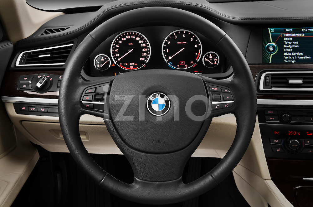 Steering wheel view of a 2011 BMW 7 Series Active Hybrid