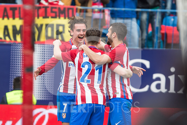 Kevin Gameiro, Antoine Griezmann, Koke Resurrecccion of Atletico de Madrid celebrates after scoring a goal  during the match of Spanish La Liga between Atletico de Madrid and Valencia CF at  Vicente Calderon Stadium in Madrid, Spain. March 05, 2017. (ALTERPHOTOS / Rodrigo Jimenez)