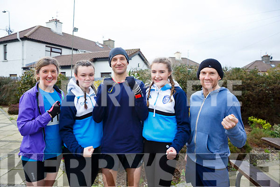 Waiting for the start of the Kerins O'Rahilly's 10k Walk in honour of local running legend John Griffin on Sunday morning last, l-r, Michelle Hoare, Bronagh O'Carroll, Tommy O'Brien, Katie Kennedy and Patrick O'Connor.