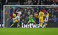 Brighton &amp; Hove Albion's Solly March just about to score for Brighton<br /> <br /> Photographer David Horton/CameraSport<br /> <br /> The Premier League - Brighton and Hove Albion v Chelsea - Sunday 16th December 2018 - The Amex Stadium - Brighton<br /> <br /> World Copyright &copy; 2018 CameraSport. All rights reserved. 43 Linden Ave. Countesthorpe. Leicester. England. LE8 5PG - Tel: +44 (0) 116 277 4147 - admin@camerasport.com - www.camerasport.com