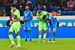 01.12.2018, wirsol Rhein-Neckar-Arena, Sinsheim, GER, 1 FBL, TSG 1899 Hoffenheim vs FC Schalke 04, <br /> <br /> DFL REGULATIONS PROHIBIT ANY USE OF PHOTOGRAPHS AS IMAGE SEQUENCES AND/OR QUASI-VIDEO.<br /> <br /> im Bild: Frust bei Kasim Adams (TSG Hoffenheim #15), Florian Grillitsch (TSG 1899 Hoffenheim #11) und Guido Burgstaller (FC Schalke 04 #19)<br /> <br /> <br /> Foto &copy; nordphoto / Fabisch