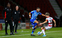 Blackpool's Liam Feeney takes on Doncaster Rovers' Alfie May<br /> <br /> Photographer Alex Dodd/CameraSport<br /> <br /> The EFL Sky Bet League One - Doncaster Rovers v Blackpool - Tuesday September 17th 2019 - Keepmoat Stadium - Doncaster<br /> <br /> World Copyright © 2019 CameraSport. All rights reserved. 43 Linden Ave. Countesthorpe. Leicester. England. LE8 5PG - Tel: +44 (0) 116 277 4147 - admin@camerasport.com - www.camerasport.com