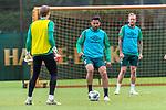 30.06.2020, Trainingsgelaende am wohninvest WESERSTADION,, Bremen, GER, 1.FBL, Werder Bremen Training, im Bild<br /> <br /> <br /> Claudio Pizarro (Werder Bremen #14)<br /> Kevin Vogt (Werder Bremen  #03)<br /> Luca Plogmann (Werder Bremen #40)<br /> <br /> Foto © nordphoto / Kokenge