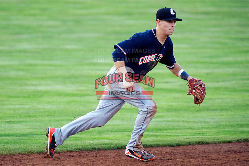 Connecticut Tigers shortstop Jordan Dean #1 during a game against the Batavia Muckdogs at Dwyer Stadium on July 5, 2012 in Batavia, New York.  Batavia defeated Connecticut 8-2.  (Mike Janes/Four Seam Images)