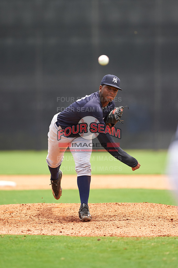 GCL Yankees East starting pitcher Yancarlos Baez (83) delivers a pitch during the second game of a doubleheader against the GCL Yankees West on July 19, 2017 at the Yankees Minor League Complex in Tampa, Florida.  GCL Yankees West defeated the GCL Yankees East 3-1.  (Mike Janes/Four Seam Images)