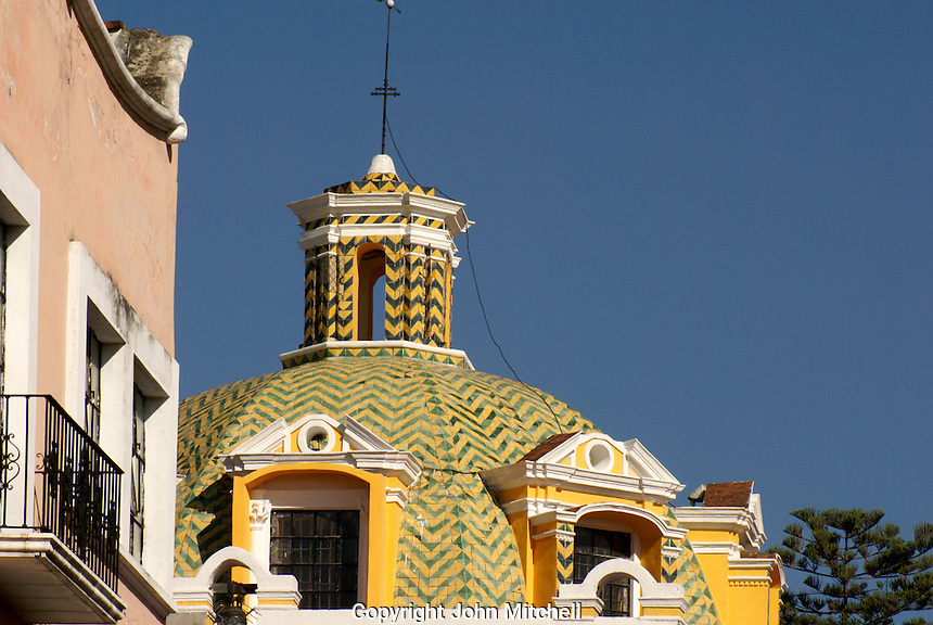 Talavera tiled dome of the Templo Capuchinas church in the city of Puebla, Mexico. The historical center of Puebla is a UNESCO World Heritage Site..