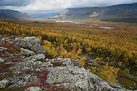 Scenic view over autumn mountain landscape, Kungsleden trail, Lapland, Sweden