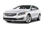 Stock pictures of low aggressive front three quarter view of a 2015 Volvo V60 T5 Drive-E FWD Door wagon Low Aggressive
