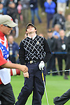 Rory McIlroy duffs his chip on the 18th on day two Foursomes matches  on saturday afternoon at the 2010 Ryder Cup at the Celtic Manor twenty ten course, Newport Wales, 2/10/2010.Picture Fran Caffrey/www.golffile.ie.