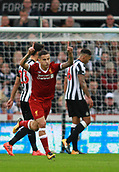 1st October 2017, St James Park, Newcastle upon Tyne, England; EPL Premier League football, Newcastle United versus Liverpool; Philippe Coutinho of Liverpool celebrates after he scored to make it 0-1 in the 29th minute