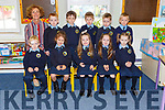 Alison Coffey with her junior infant class on their first day of school in Loughquittane NS on Monday front row l-r: Timothy O'Donoghue, Emily O'Donoghue-Devriers, Sadie Brosnan, Grace Brosnan, Chloe O'Connor. Back row: Alison Coffey,Charlie Byrne, Conor Scanell, Tiernan Kavanagh, Sean O'Brien and Joe O'Shea