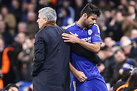 Diego Costa of Chelsea (right) and Jose Mourinho (Manager) of Chelsea (left) after Diego Costa is substituted during the UEFA Champions League group match between Chelsea and FC Porto at Stamford Bridge, London, England on 9 December 2015. Photo by David Horn / PRiME