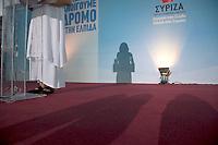 Elezioni in Grecia. Manifestazione finale di Syriza prima delle elezioni legislative, 14 giugno a Atene in piazza Omonia. Mezzo busto dell'ex lanciatrice di giavellotto Sofia Sakorafa supporter di Syriza, ex deputato Pasok.