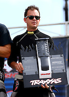 Aug. 31, 2013; Clermont, IN, USA: NHRA top fuel dragster driver Steve Torrence at the Traxxas Shootout during qualifying for the US Nationals at Lucas Oil Raceway. Mandatory Credit: Mark J. Rebilas-