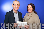 Kerry's Eye Editor Colin Lacey presents tickets to the winner ofthe Kerry's Eye Other Voices competition was Treasa Ní Eachtnigheirn