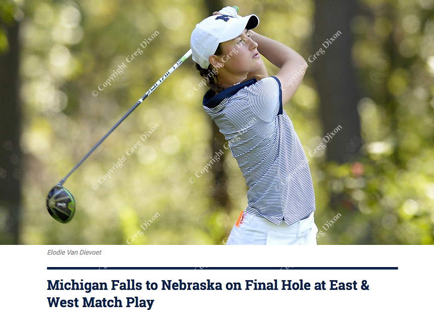 Michigan's Elodie Van Dievoet tees off on Tuesday at the East & West Match Play Challenge women's golf tournament on 9/19/17 at University Ridge Golf Course in Madison, Wisconsin | University of Michigan article online at http://mgoblue.com/news/2017/9/19/womens-golf-michigan-falls-to-nebraska-on-final-hole-at-east-west-match-play.aspx