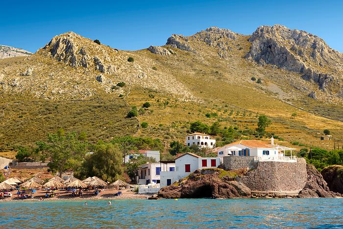 Vlychos Village & beach, Hydra,  Greek Saronic Islands.