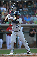 Lake County Captains outfielder Bryson Myles #23 bats during a game against the Dayton Dragons at Fifth Third Field on June 25, 2012 in Dayton, Ohio. Lake County defeated Dayton 8-3. (Brace Hemmelgarn/Four Seam Images)