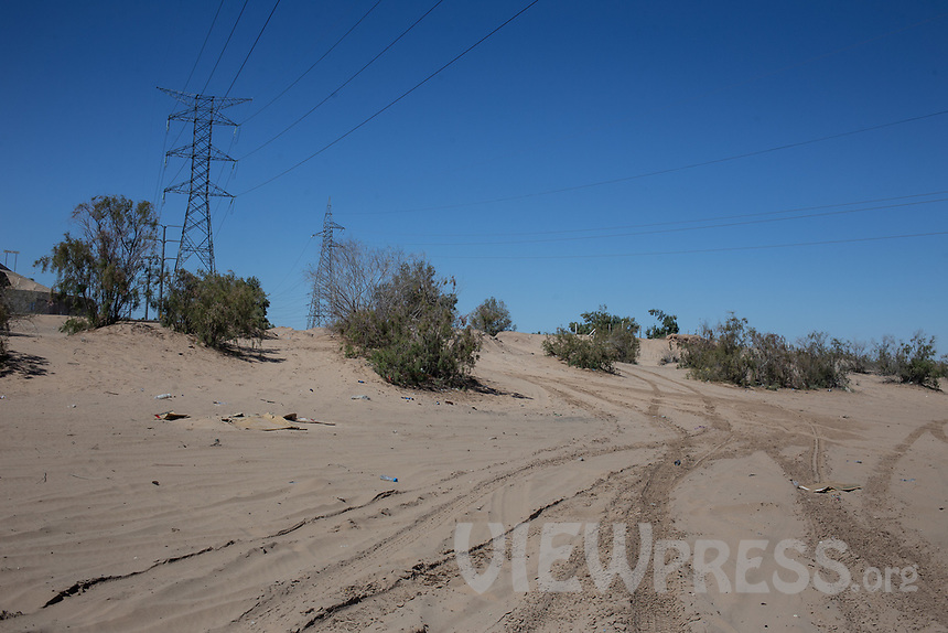 MEXICALI, MEXICO - March 13 . A general view of the Colorado River dry riverbank near the US-Mexico Border on March, 13 2019 in Mexicali, Mexico.<br /> The rivers usually end in the sea, the Colorado dies in a border. Its the only case like this in the world. There is less water in the Colorado River, hence less water in crops and areas of northern Mexico.  <br /> (Photo by Luis Boza/VIEWpress)