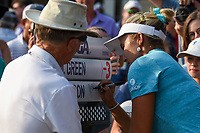 Lexi Thompson (USA) autographs the score sign board following round 4 of the 2019 US Women's Open, Charleston Country Club, Charleston, South Carolina,  USA. 6/2/2019.<br /> Picture: Golffile | Ken Murray<br /> <br /> All photo usage must carry mandatory copyright credit (© Golffile | Ken Murray)