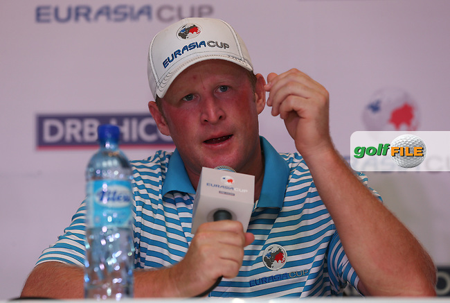 After a shaky start Race to Dubai No 1 Jamie Donaldson (WAL) turned the match around to win 2&1 alongside Graeme McDowell (NIR) during the second day Foursome matches at the 2014 EurAsia Cup presented by DRB-Hicom, at the Glenmarie Golf & Country Club, Kuala Lumpur, Malaysia. Picture:  David Lloyd / www.golffile.ie