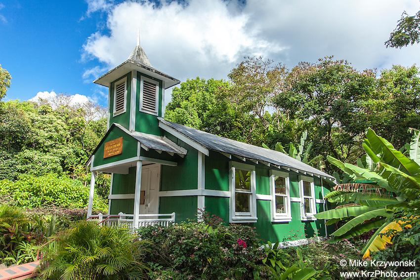 Little historic green church named Ierusalema Hou Church in Halawa, Moloka'i