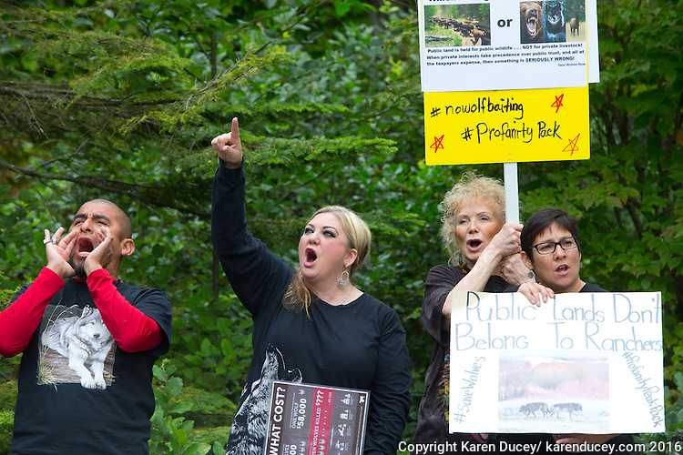 "Protesters rally outside the Washington Department of Fish and Wildlife (WDFW) headquarters in Olympia, Washington against the killing of the Profanity Peak wolf pack in eastern Washington on September 1, 2016. ""It's breaking my heart,"" said Miguel Ramirez, from Portland, OR who says they have the same problem in their state. (photo © Karen Ducey Photography)"