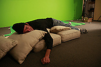 """Friday, Saturday, Sunday August 8,9,10 2008 San Diego, CA.  Actor Thomas Hall is exhasuted after a full day of work on production company Renegade Swine's movie """"The Paper Spy"""".  The Renegade Swine team was part of the 48-Hour Film Project, a contest to write, shoot, edit and score an entire movie in just two days."""