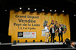 The 176 contenders of the 105th Tour de France 2018 were introduced to the crowd in Napoleon Square by Tour Director Christian Prudhomme ASO, Luc Bouard  Mayor of la Roche-sur-Yon and Yves Auvinet  President du Conseil Regional de Vendee, La Roche-sur-Yon, France. 5th July 2018. <br /> Picture: ASO/Bruno Bade | Cyclefile<br /> All photos usage must carry mandatory copyright credit (&copy; Cyclefile | ASO/Bruno Bade)