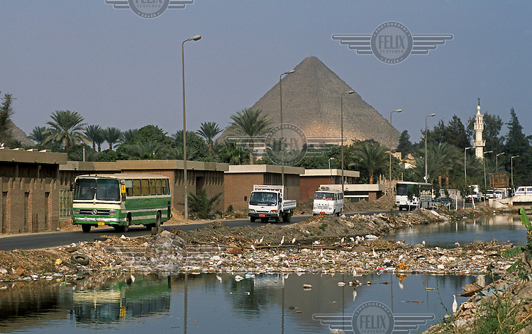 Rubbish in a waterway close to the pyramids..