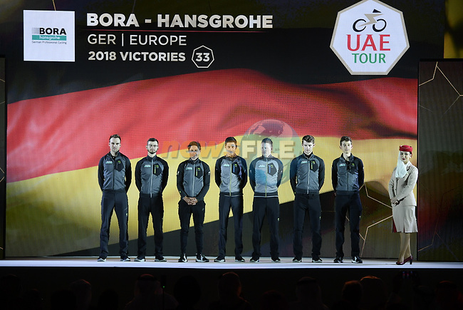 Bora-Hansgrohe team on stage at the inaugural UAE Tour 2019 opening ceremony and team presentation held in the Louvre Abu Dhabi, United Arab Emirates. 23rd February 2019.<br /> Picture: LaPresse/Fabio Ferrari | Cyclefile<br /> <br /> <br /> All photos usage must carry mandatory copyright credit (© Cyclefile | LaPresse/Fabio Ferrari)